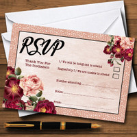 Coral Blush /& Deep Red Watercolour Rose Personalized Wedding Thank You Cards