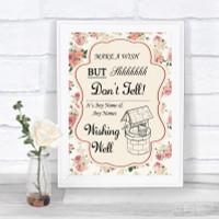 Roses Shabby Chic Aqua Instagram Photo Sharing Personalised Wedding Sign