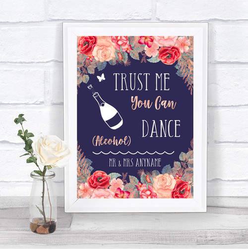 bc85e6c312ee Navy Blue Blush Rose Gold Alcohol Says You Can Dance Personalized Wedding  Sign