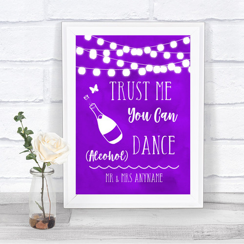 0412700f0bc9 Purple Watercolour Lights Alcohol Says You Can Dance Personalized Wedding  Sign