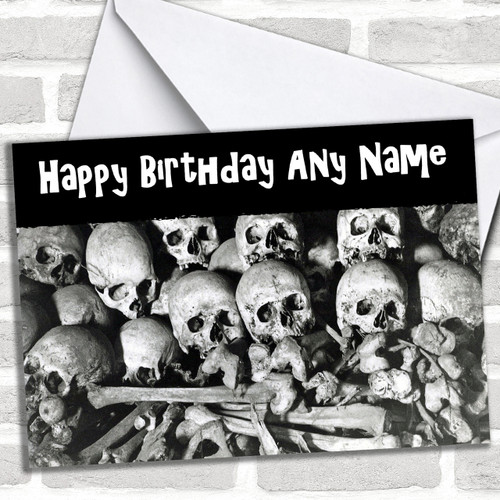 Scary Skeleton Horror Personalized Birthday Card - Red Heart
