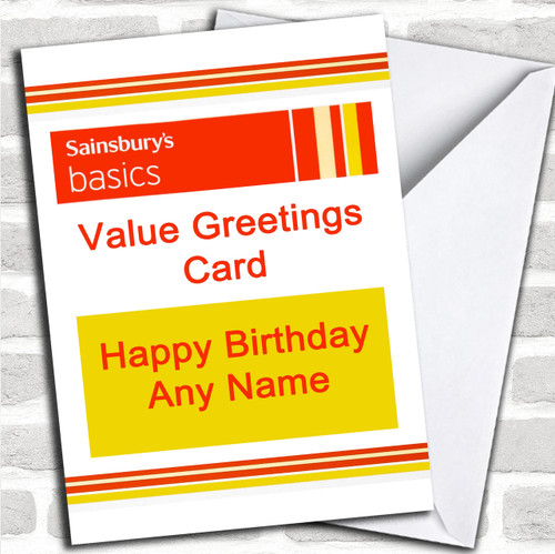 Funny Joke Tesco Value Spoof Birthday Customised Card
