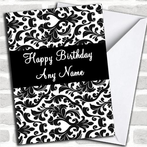 Black /& White Damask Personalised Birthday Greetings Card