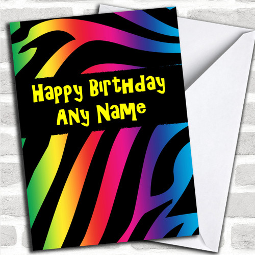 Animal Tiger Print Colourful Personalized Birthday Card