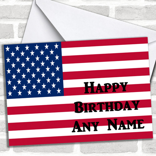 American Flag Usa Personalized Birthday Card