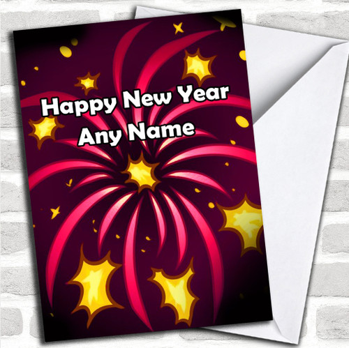 pink fireworks personalized new years card