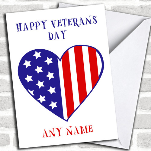 Personalized Cards Veterans Day Cards Red Heart Print