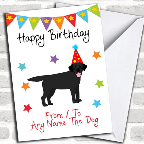 To From Dog Black Labrador Personalized Birthday Card
