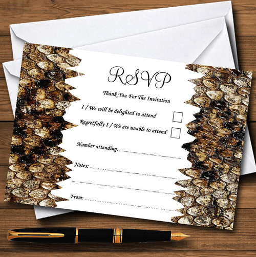 Animal Print Snakeskin Pink Personalized RSVP Cards