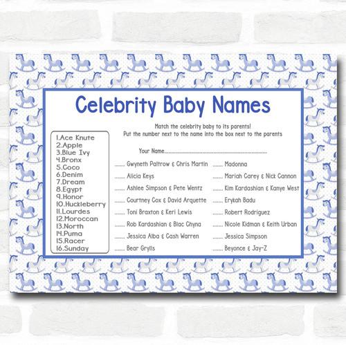 Boys Blue Rocking Horse Baby Shower Games Celebrity Baby Name Cards