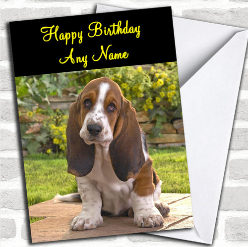 Adorable Basset Hound Dog Personalized Birthday Card