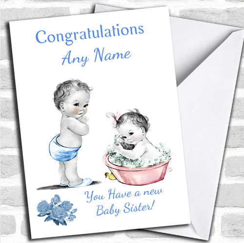 Celebrations & Occasions Vintage Baby Girl Sister New Baby Customised Card