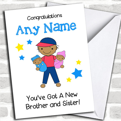 Blonde Big Brother Congratulations New Baby Boy Sibling Personalized Card