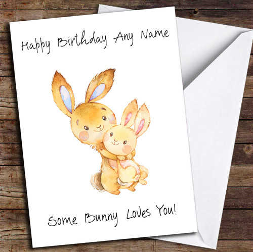 Cute Some Bunny Personalized Birthday Card
