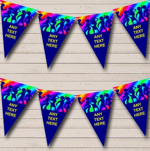 60's 70's 80's Disco Dance Personalized Birthday Party Bunting Flag
