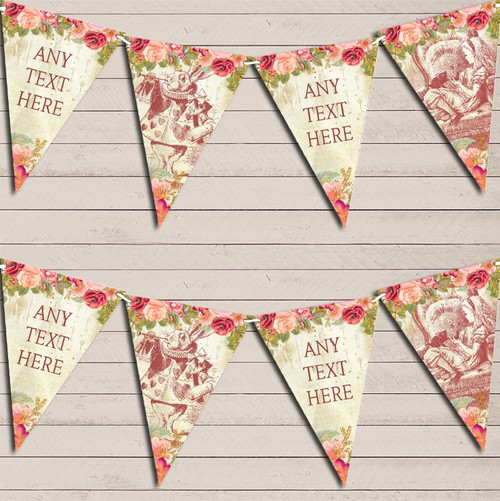 Shabby Chic Vintage Wood Red Personalised Retirement Party Bunting