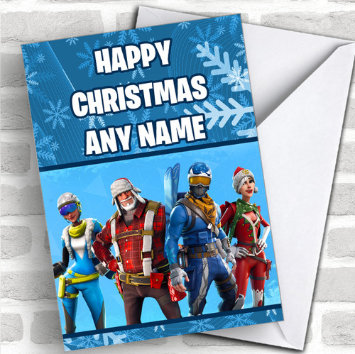 Red Fortnite Game Personalized Children S Christmas Card Red Heart