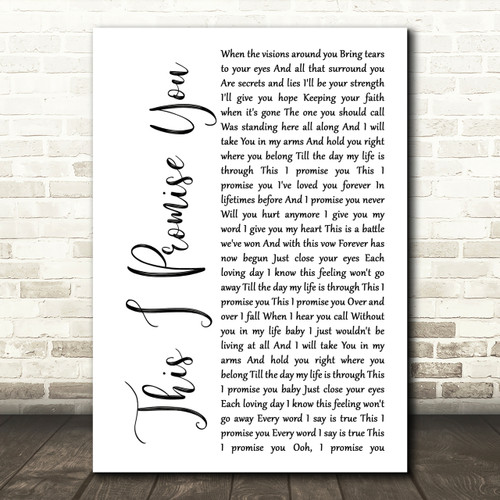 N Sync This I Promise You Rustic Script Song Lyric Print