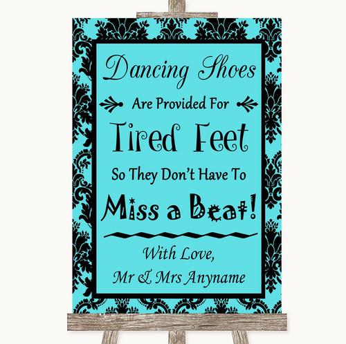 edb609b07 Tiffany Blue Damask Dancing Shoes Flip-Flop Tired Feet Personalized Wedding  Sign