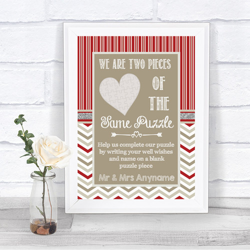 Burlap /& Lace Rustic Puzzle Piece Guest Book Wedding Sign Print
