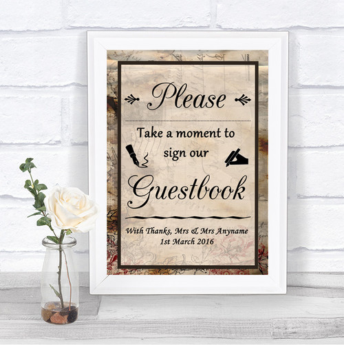 Burlap /& Lace Take A Moment To Sign Our Guest Book Personalised Wedding Sign