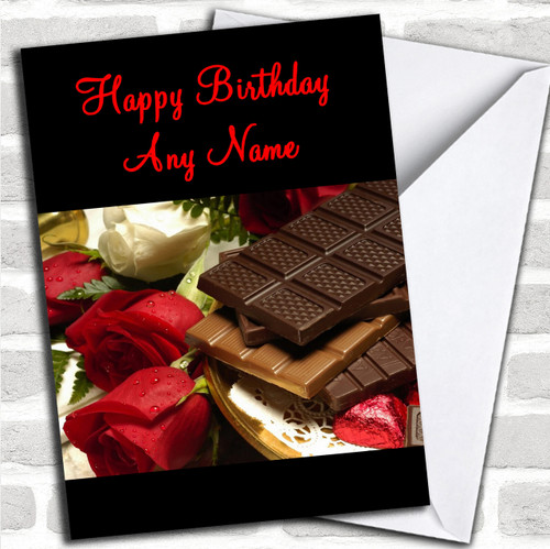 Chocolate Roses Romantic Personalized Birthday Card
