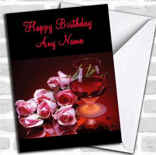 Brandy Flowers Romantic Personalized Birthday Card