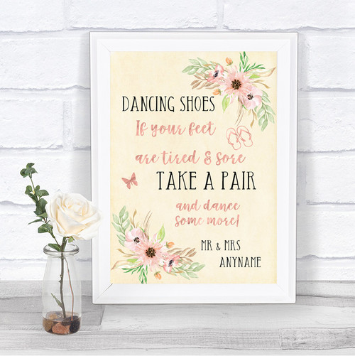 efbe039da643 ... Blush Peach Floral Dancing Shoes Flip Flops Personalized Wedding Sign  fashion styles 420da 4113c ...