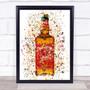 Watercolor Splatter Tennessee Fire Jack Cinnamon Whiskey Bottle Wall Art Print