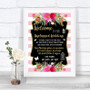 Gold & Pink Stripes No Phone Camera Unplugged Personalized Wedding Sign