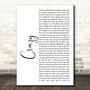 Aerosmith Crazy White Script Song Lyric Music Art Print