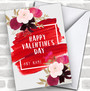 Floral Paint Smear Personalized Valentine's Day Card