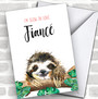 Cute Sloth Fiancé Personalized Valentine's Day Card