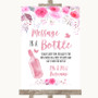 Pink Watercolour Floral Message In A Bottle Personalized Wedding Sign