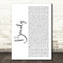 Dru Hill Beauty White Script Song Lyric Art Print