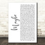 James Arthur Maybe White Script Song Lyric Art Print