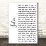 The Beatles Julia White Script Song Lyric Art Print