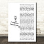 One Direction Home White Script Song Lyric Art Print