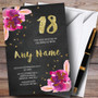 Chalk Gold Confetti Pink Flowers 18th Personalized Birthday Party Invitations