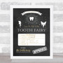 Tooth Fairy Check List Chalk Personalized Certificate Award Print
