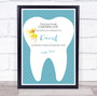 Blue First Lost Tooth Fairy Personalized Certificate Award Print