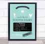Tooth Fairy Check List Teal Personalized Certificate Award Print