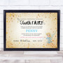 Vintage Style Tooth Fairy Personalized Certificate Award Print
