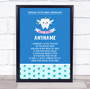 Tooth Fairy Poem Blue Personalized Certificate Award Print