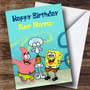 Personalized Green Spongebob Squarepants Children's Birthday Card