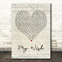 Rascal Flatts My Wish Script Heart Song Lyric Print