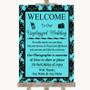 Tiffany Blue Damask No Phone Camera Unplugged Personalized Wedding Sign