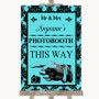 Tiffany Blue Damask Photobooth This Way Left Personalized Wedding Sign