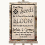 Vintage Plant Seeds Favours Personalized Wedding Sign