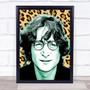 John Lennon Leopard Print Funky Framed Wall Art Print